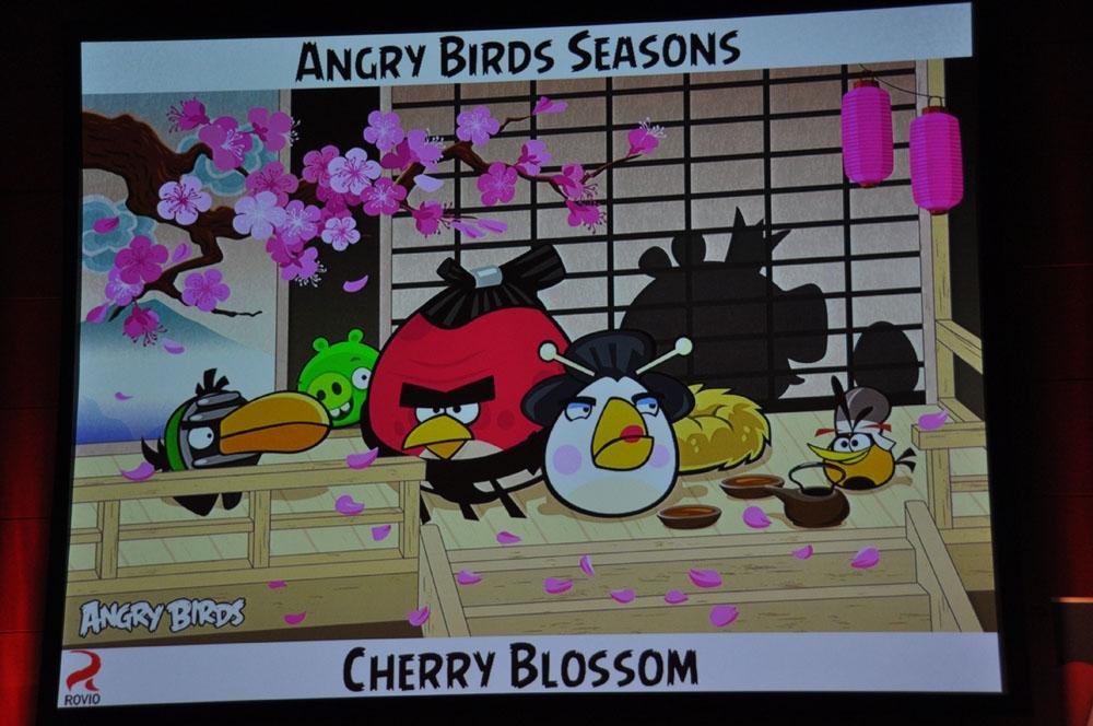 ジョークムービーで告知が行なわれた「Angry Birds SPACE」。さらに「CHERRY BLOSSOM」もアナウンスされた