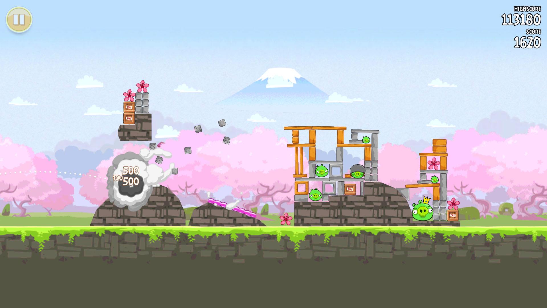 3月7日より「Angry Birds Seasons」に追加されたステージ集。柔らかい色合いの桜が、春の雰囲気を出している。ブーメランのように飛ぶトリが出たり、高く積み上がったステージ構成など多少難易度は高めだ。海苔巻きやお椀、傘など日本要素のオブジェクトにも注目