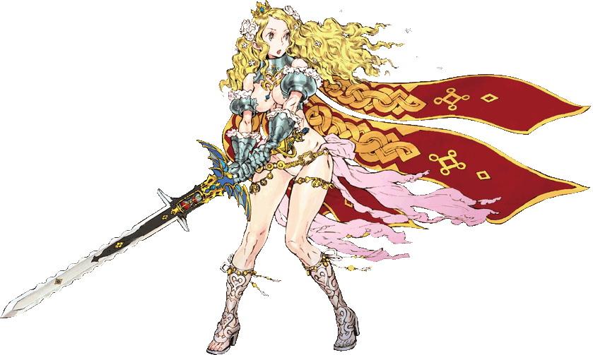 """<b>ソランジュ・ブランシュフルール・ド・リュクス</b>:深窓の姫君として過ごしてきた亡国の姫。""""CODE OF PRINCESS""""の宿命に翻弄されながらも、仲間や強敵との出会いを経て、世界の均衡を取り戻す戦いに身を投じていく"""
