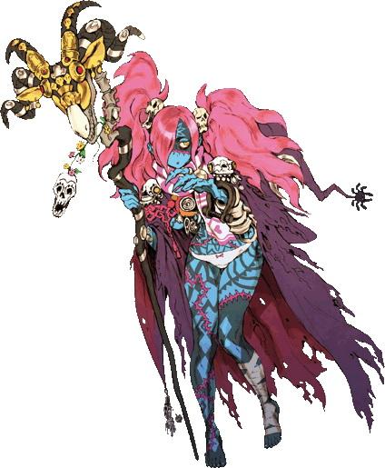 <b>レディ・ゾゾ</b>:さらなる魔術の探求のため、自らを不死化したゾンビ娘。姫の剣が持つ癒しの力に惹かれて行動を共にする。マイペースな性格で無口。舌が無いため、呪文や会話は持っている杖が担当