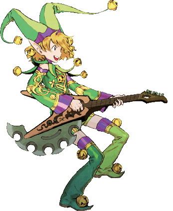 <b>アレグロ・ナンタービレ・カンタービレ</b>:回復役を探していた姫一行に押しかけ同然に加わる遊び人のエルフ。ナルシスト&脳天気ぶりで周囲の人を苛つかせる天才。キーボードを武器兼楽器として使いこなす