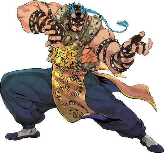 <b>怒羅拳・T・牙(Mr.T)</b>:幻獣拳・UMA48の使い手。無口で近寄りがたい外見だが」、優しい心を合わせ持つ。可愛い動物を前にすると「カワユスなぁ~」とデレデレな姿に豹変する。マスクの下は、かなりのイケメンらしい