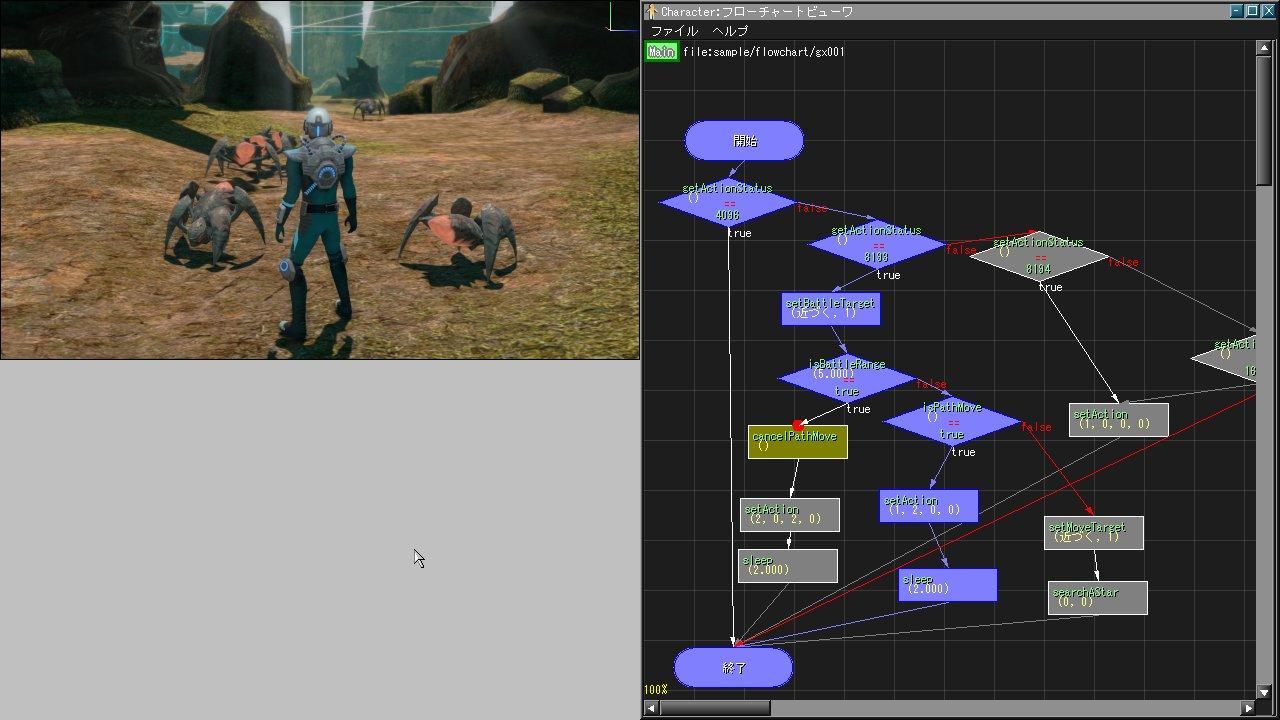ビジュアルAIツールの画面。基本的な経路探索、群集制御などの実現手法の他に、プレーヤーやNPCを設計するための基本的なAIライブラリなども提供される