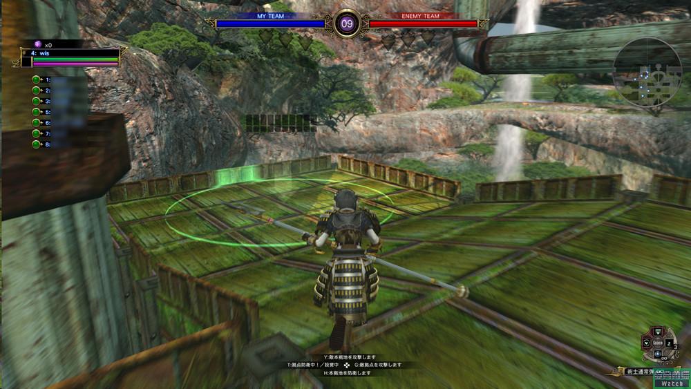 フィールドにある緑のサークルが拠点設営の位置。ここに一定時間立ち止まれば自動的に拠点が作られる