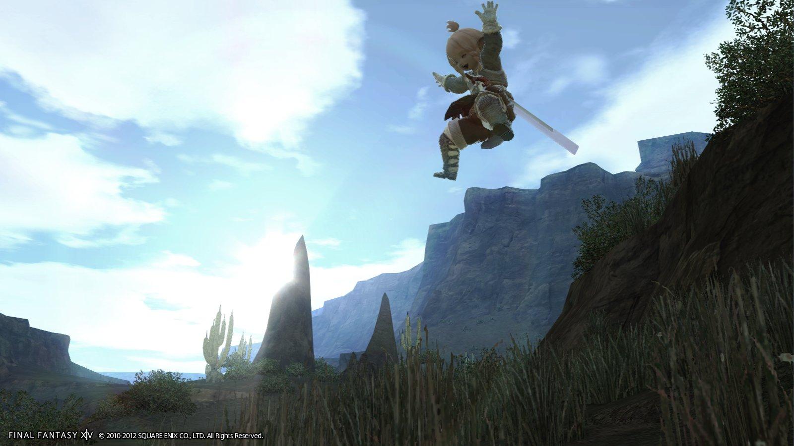 ララフェルのジャンプ。笑顔が可愛らしい