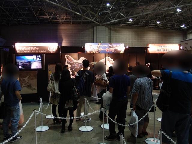 カプコンチャンネルサテライトブースでは「ドラゴンズドグマ」のクエストチャレンジを実施。アトラクションコーナーでは、「リアルチャレンジクエスト!モンスター射的」や「武田が熱き魂ここにあり! 熱血!武田大声道場!」が行なわれていた