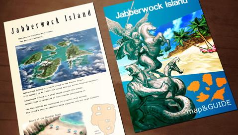 舞台となる「ジャバウォック島」。ガイドブックによれば、風光明媚な常夏の楽園で、中央の小さな島を中心としてそれを取り囲む5つの島から構成されているという。また、神聖な5体の動物が島の象徴として存在するのだという