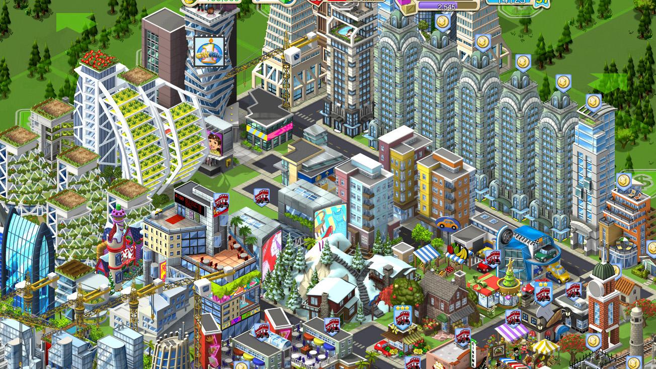 「CityVille」の街には人口を増やすためのマンション密集地帯が必ず出現する