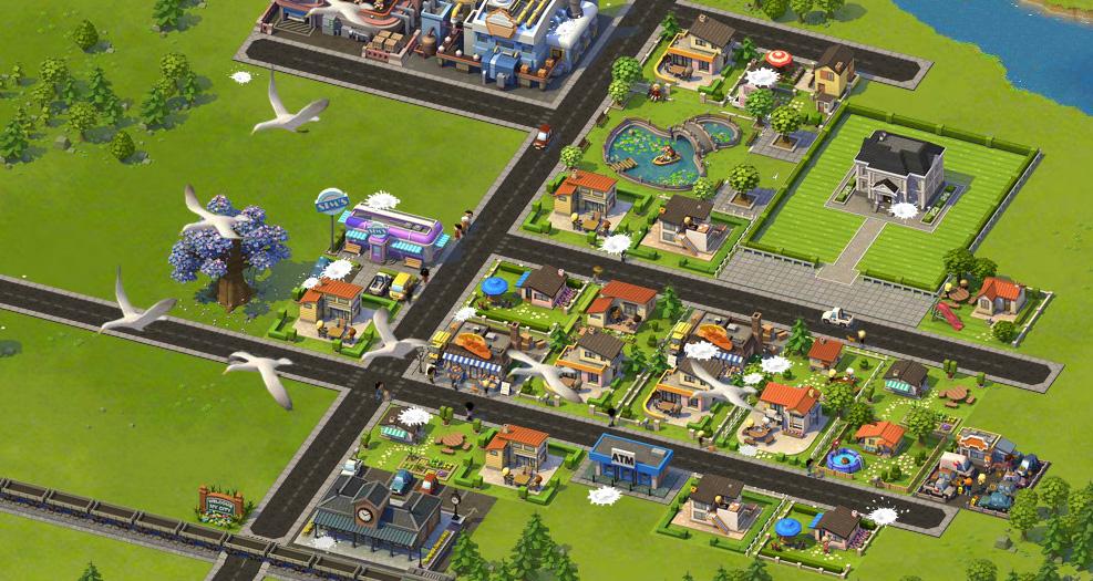 「SimCity Social」では、友達とライバルになると友達の街に鳥のフン攻撃をしたりといったいたずらが可能になる