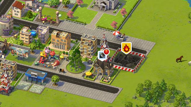 「SimCity Social」の災害。消防署がないと、火事で家が燃え落ちてしまい、住民からはクレームが