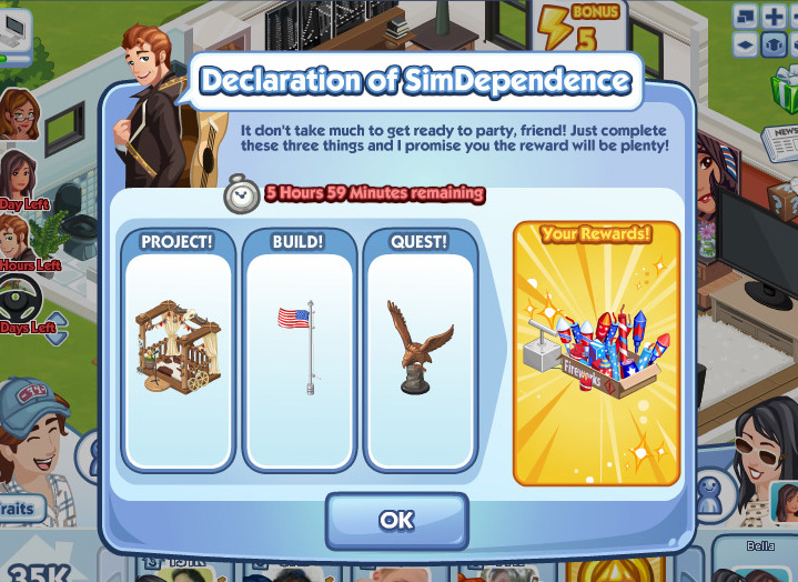「The Sims Social」の期間限定クエスト。アメリカ独立記念日に合わせたクエストで、国旗やネイティブアメリカン風の家具が手に入る