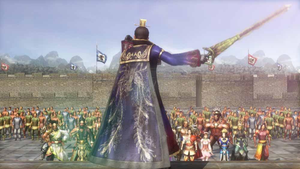 項羽から魏領を奪還すべく編成された曹操を長とした軍の出陣式で、曹操が将兵に号令をかける