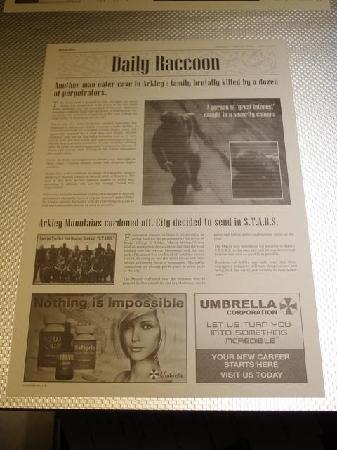 1998年の新聞「Daily Raccoon(デイリーラクーン)」がランチョンマットとして使用される