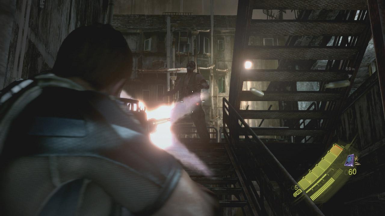 雑居ビルの屋上を伝って指定されたポイントを目指すが、そこら中にB.O.W.(生物兵器)の「ジュアヴォ」が待ち構えている