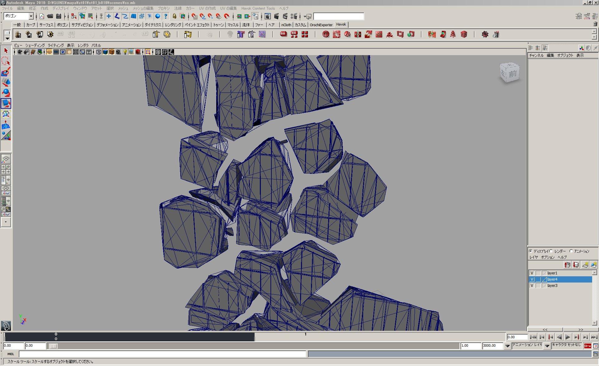 壊れはじめのリアルな破片(フラクチャー)モデル(左)と、そのワイヤーフレーム(右)