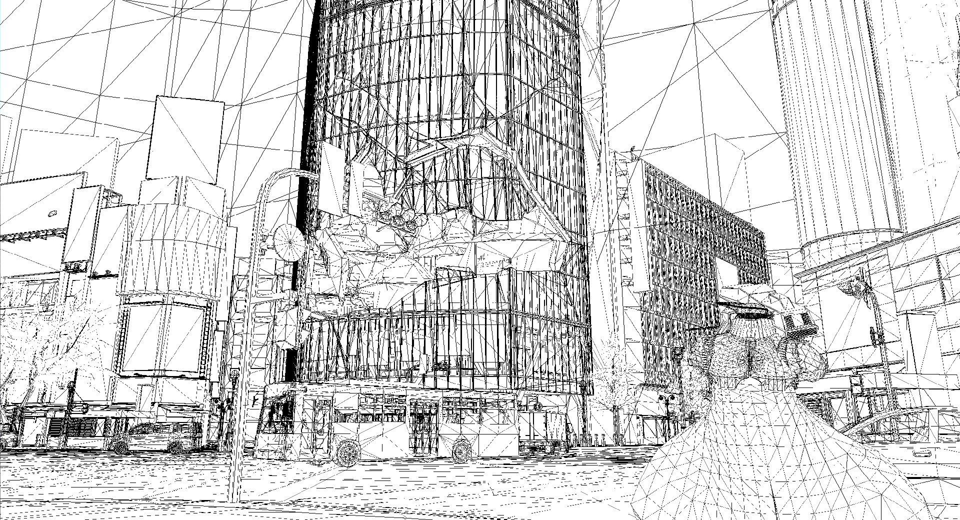 破壊途中のビルとそのワイヤーフレーム