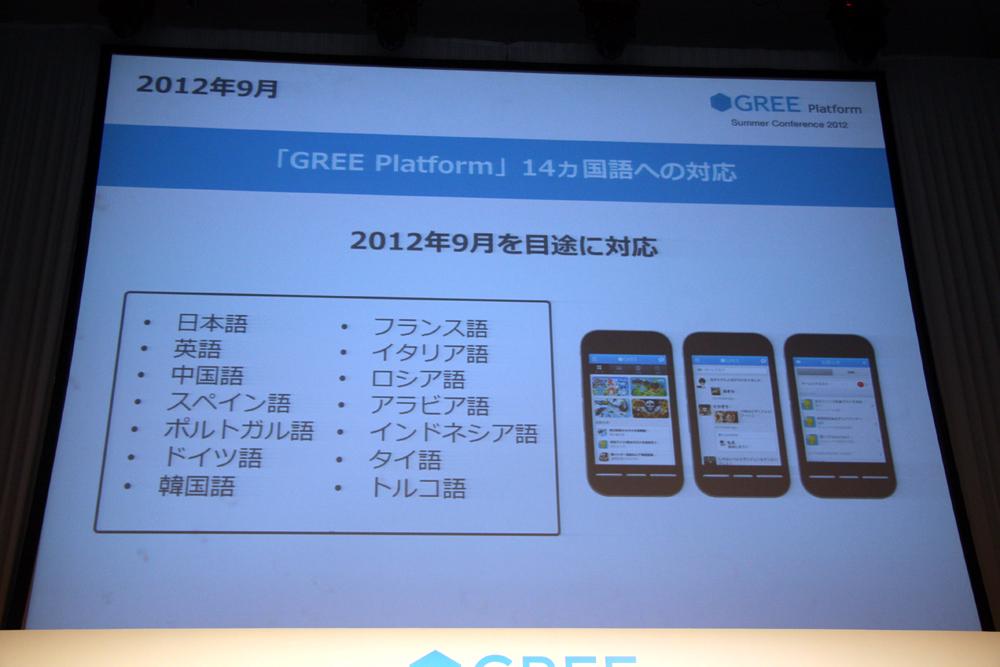 2012年に「GREE Platform」は14カ国語に対応し、名実共にグローバルサービス体制が整う
