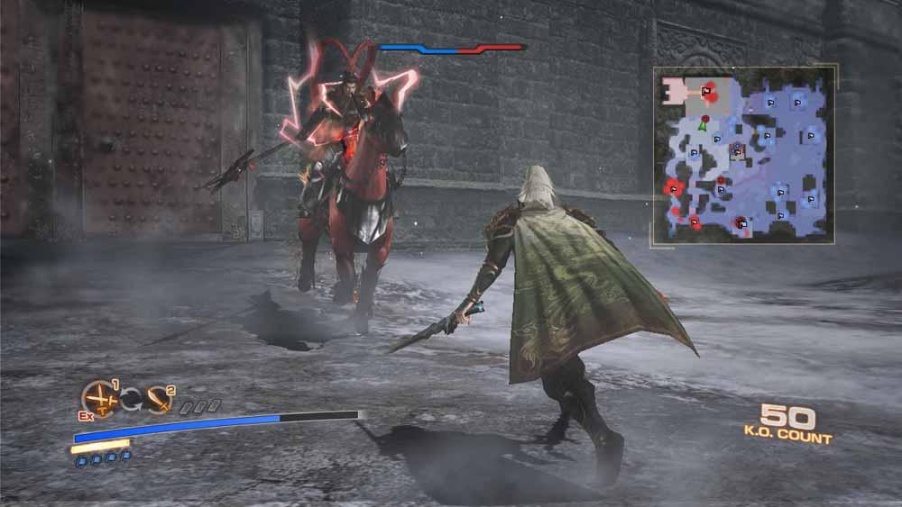 呂布が「単騎駆け」を使用。「単騎駆け」は武勇の絶招秘計。攻撃・防御・移動速度の強化+孤立中でも復活可能。敵陣奥へと奇襲するのに有利となる