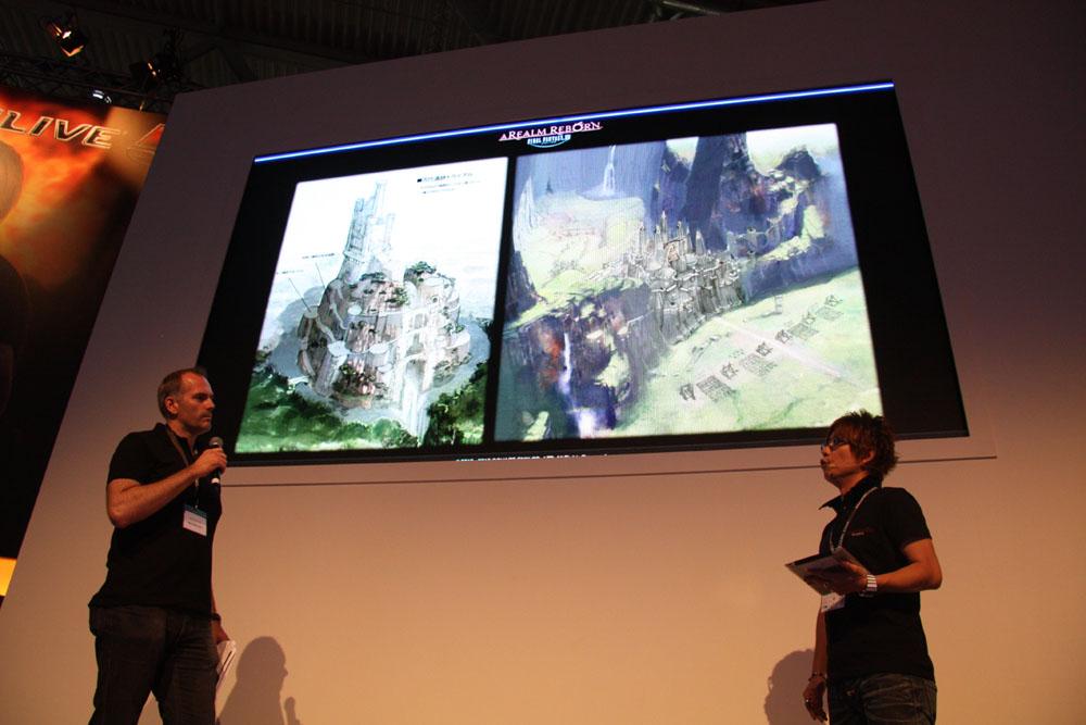 吉田氏はこれまでに公開したスクリーンショットやイメージイラストを使いながら「FFXIV: 新生エオルゼア」がどのようなオンラインゲームになるのかを説明