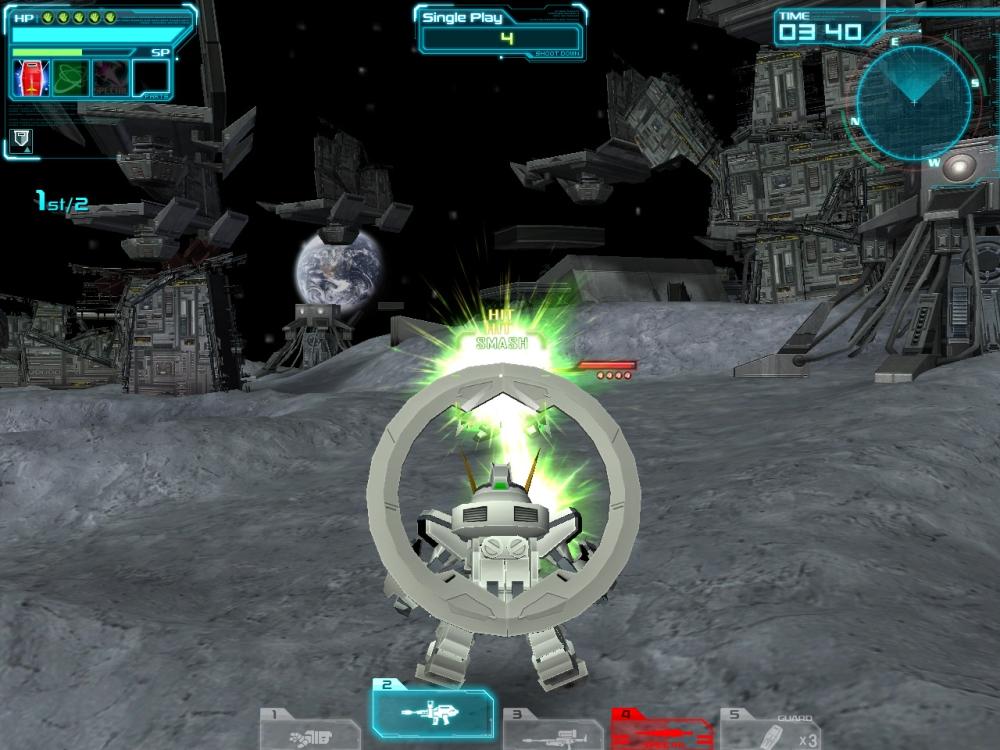 武装変更前は武器2「ビーム・ガン(連射)」が使いやすくてオススメだ。武器1「格闘」や武器3「ビーム・ガン(高出力)」は補助的に使っていこう