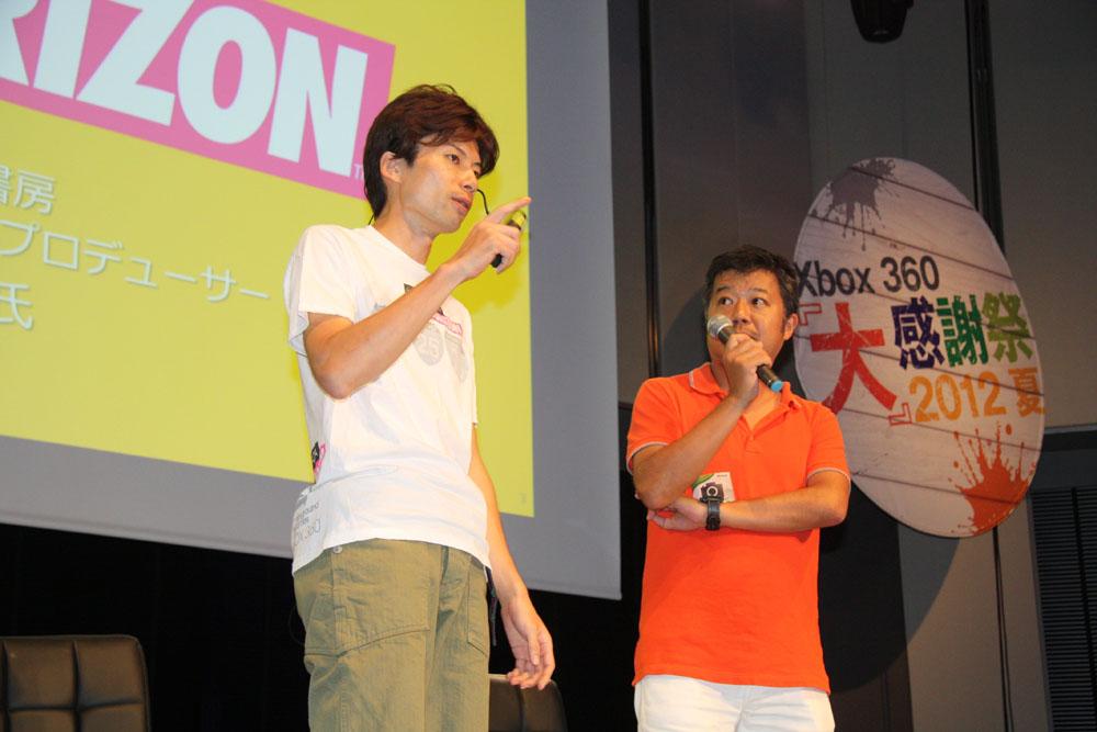 「Forza Horizon」プロダクトマーネティングマネージャーの南雲聡氏と、カーブログ「クリッカー」のプロデューサーを務める三栄書房の小野真人氏