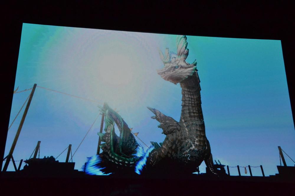 会場で上映されたムービーの一部。新モンスターや新フィールドが複数見られた