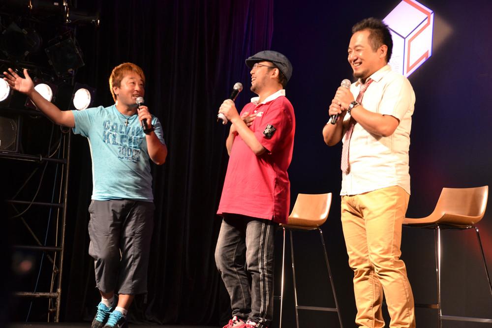 プロデューサーの杉浦一徳氏(中央)とアシスタントプロデューサーの宮下輝樹氏(右)も登壇