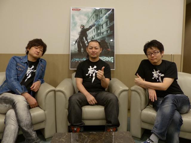 開発を担うプラチナゲームズ株式会社からはプロデューサーの稲葉敦志氏(写真左)とディレクターの齋藤健治氏(写真中央)、株式会社コナミデジタルエンタテインメント、小島プロダクションのプロデューサーである是角有二氏(写真右)の3人から、「MGR」に関するさまざまなお話を伺った