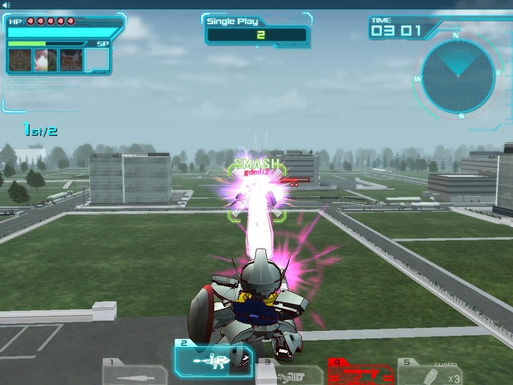 武器1の「ビーム・サーベル」から武器3の「格闘」にコンボを繋げるのがオススメだ。武器2の「ビーム・ライフル」で牽制しながら近づこう