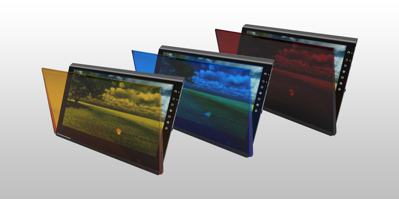 オプションの液晶保護カバー。黄、青、赤の3色展開で、価格は1,980円。11月9日発売予定
