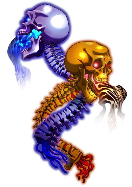 """<center class=""""""""><strong class="""""""">スカルファントム</strong></center><br class="""""""">死者が溢れる場所に現われる、双頭のドクロの怨念体。脊柱が絡み合い、呪いの言葉を吐いて回る。ぼんやりと僅かな光を放っており夜の墓地では人魂に見える"""