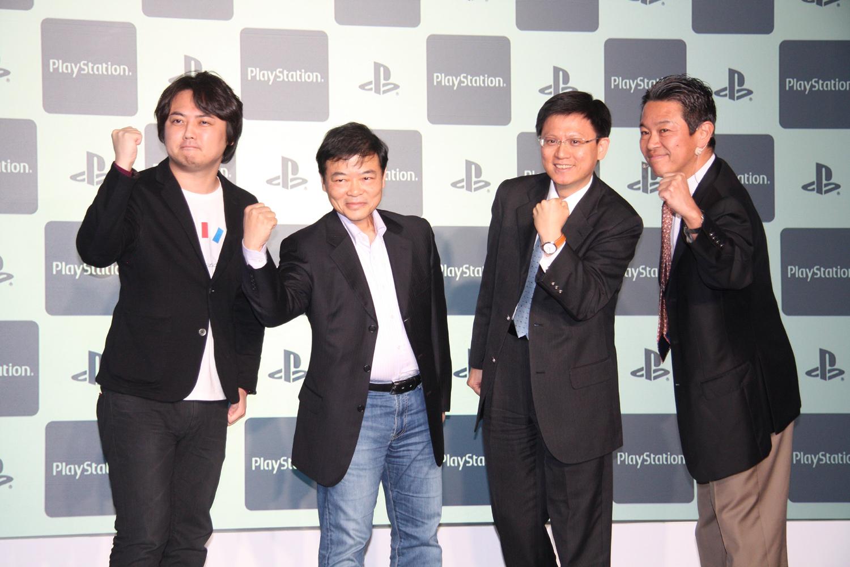 発表会にはサードパーティーも招かれた。左からセガ ネットワークスの河井大輔氏、Namco Bandai Partners TaiwanのWilliam Wang氏、TECMO KOEI TAIWANのSammy Liu氏