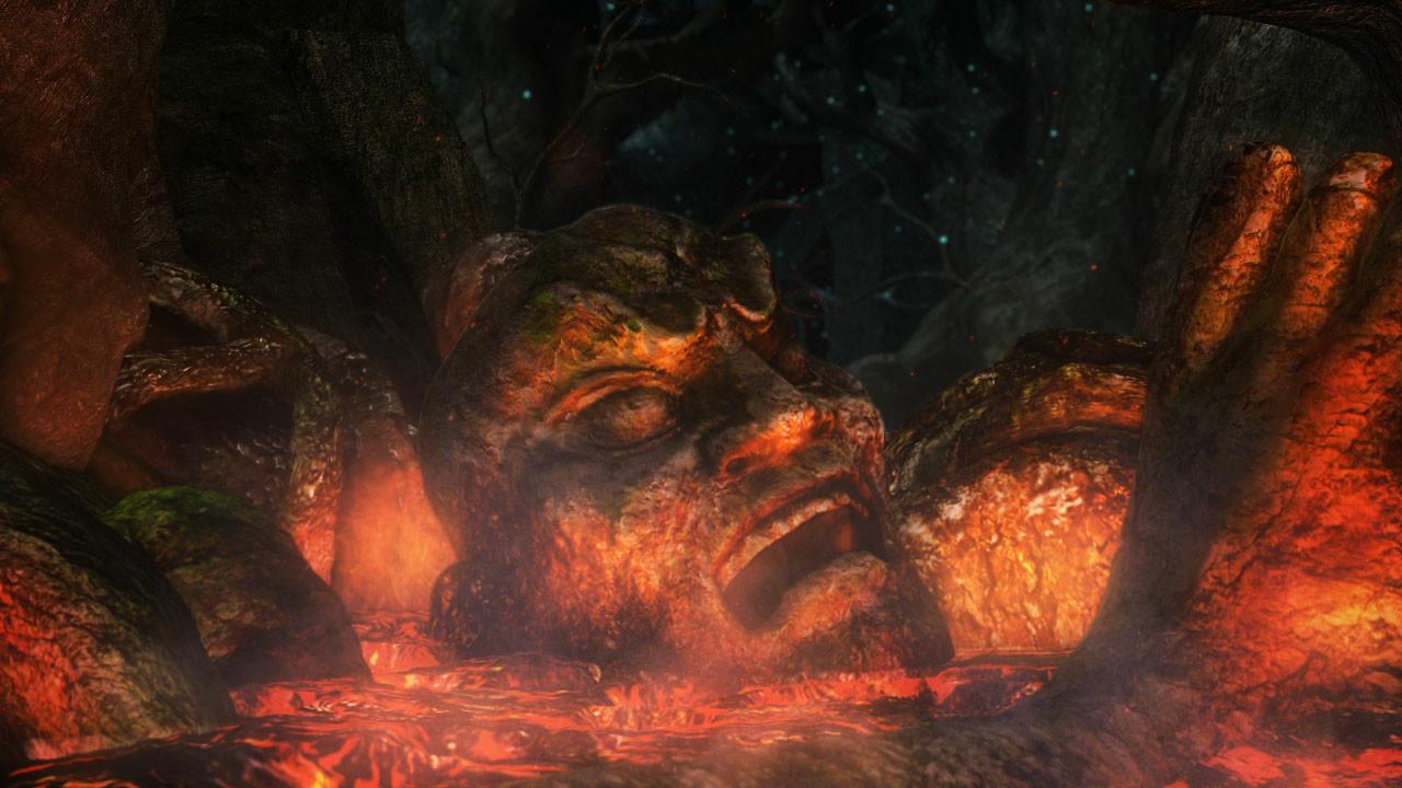 「武」フィールドの一部、木々の木漏れ日に浮かぶ「モノノフ」マーク。大量に押し寄せる雑魚鬼「ガキ」、そしてボス鬼「ゴウエンマ」の登場。咆哮とともに攻撃態勢に移るボス鬼「ゴウエンマ」の足下を破壊するNPC「桜花」とプレーヤーキャラ。見事「ゴウエンマ」の腕を斬り落とすが……