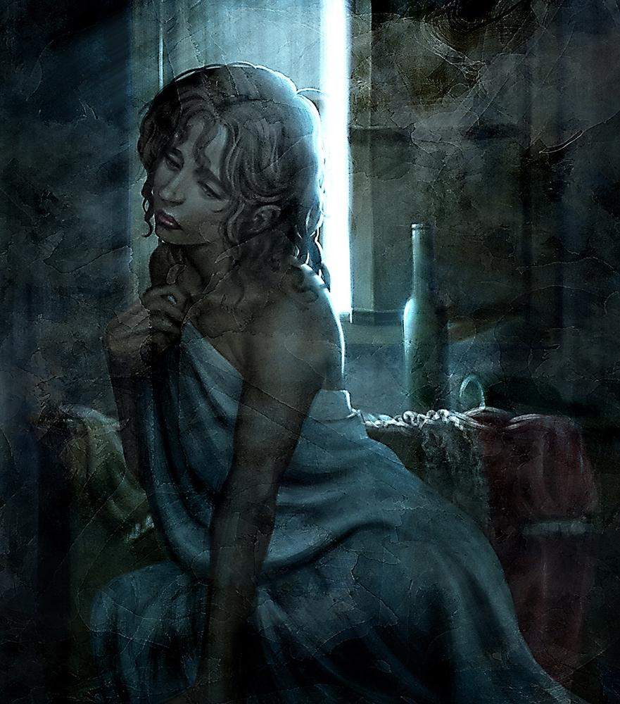 死から逃れるために、死ぬ権利を捨てた女。その結果、人間の体を失って発光するだけの存在になってしまった。死ぬことすら叶わず、女は溜息をつき続ける。(右は人間の頃の姿)