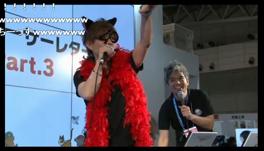 2日目の1回目「プロデューサーレターLIVE」の吉田直樹氏。「魔界からの使者ダリー」風の衣装で登場した