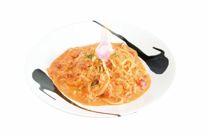 筆しらべ【紅蓮】鶏とカニのトマトクリームパスタ