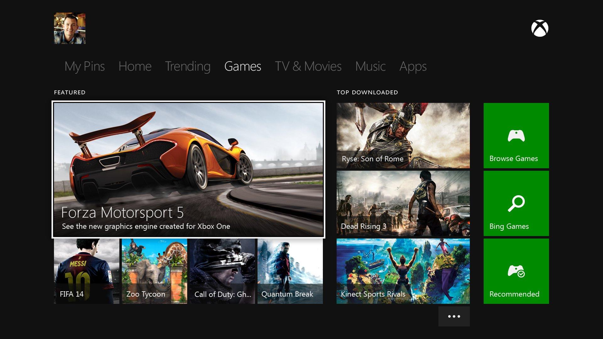 Xbox Oneの新ダッシュボード。今回の発表会はゲームの話題しかなかったが、Xbox Oneにはゲームは機能のひとつに過ぎない