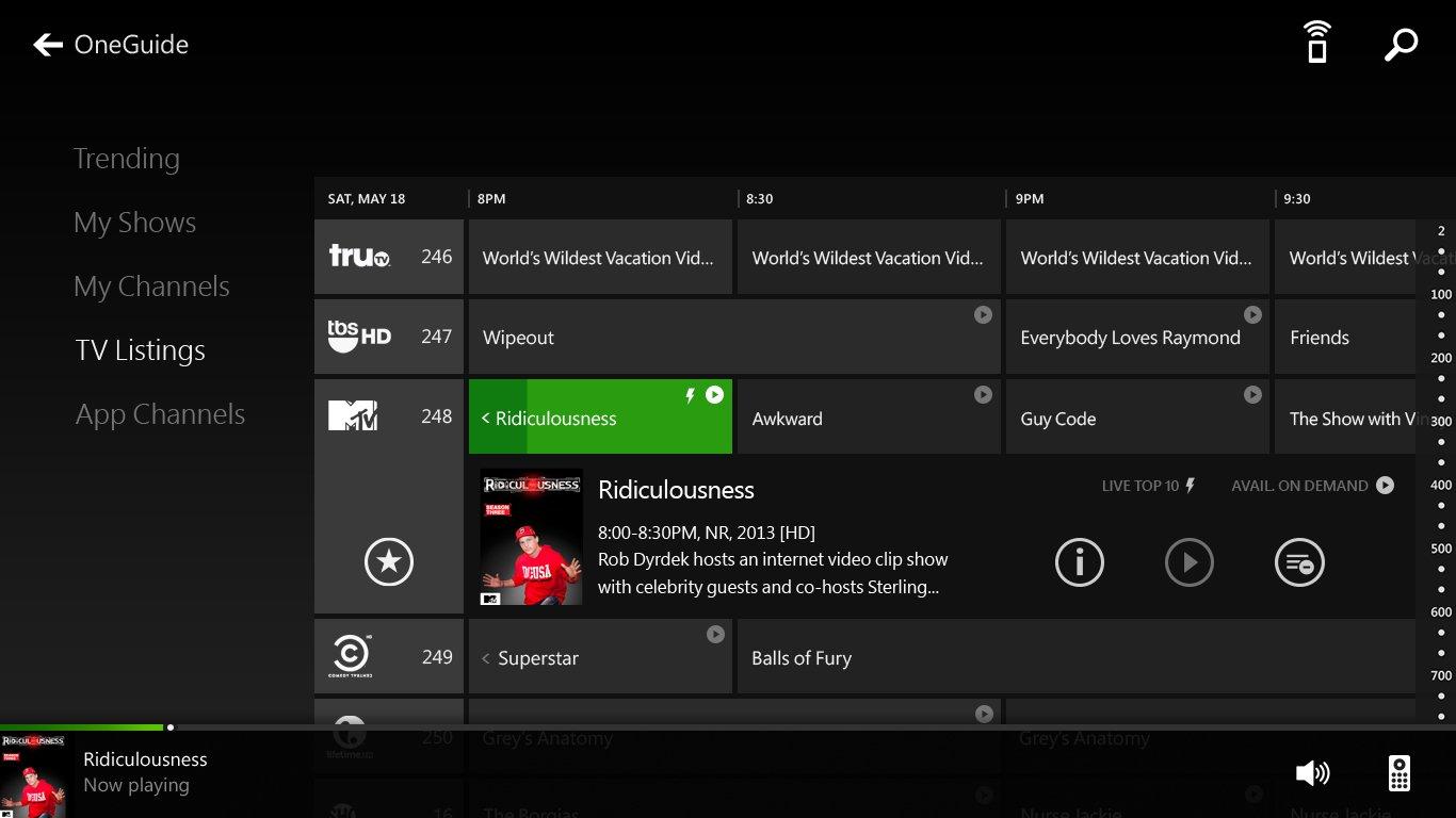 こちらも発表会ではあっさりとした紹介だったが、Xbox OneではSmart GlassもUIや機能が大幅に進化する。こちらは新しいSmart GlassのUI。Xboxとほぼ同じUIになっている。TVの番組表を表示したり、リモコンの機能も兼ねるようだ