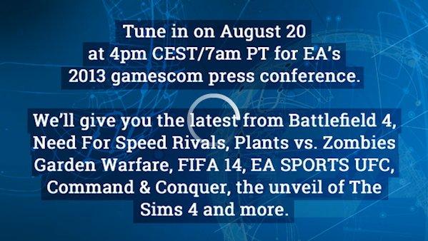 """<a class="""""""" href=""""http://ea-gamescom2013.stream-view.com"""">ライブストリーミングのサイト</a>はもう設置されており、明日の開幕に備えている"""
