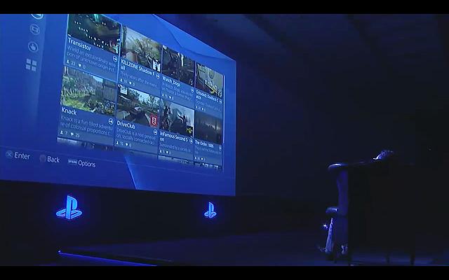 冒頭に公開されたPS4のインターフェイス。最後にチャットに「Let's Start the Show」とを打ち込まれプレスカンファレンスがスタートした