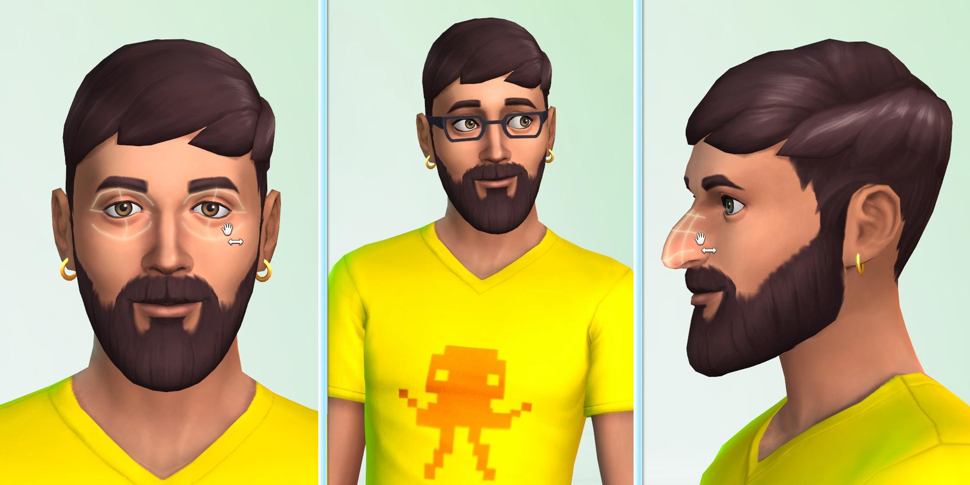 男性の顔のカスタマイズ画面。試遊では、アクセサリーや眼鏡は「COMING SOON」となっていて、どんな種類があるのかは確認できなかった