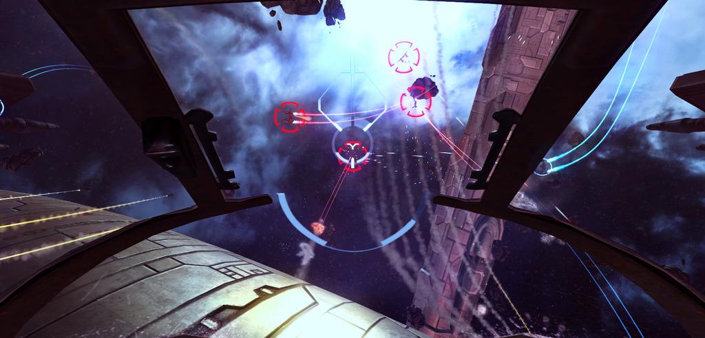 眼前には美しく広大な宇宙空間が広がる。敵機を見つけ、機体を操り、ロックオンして攻撃だ