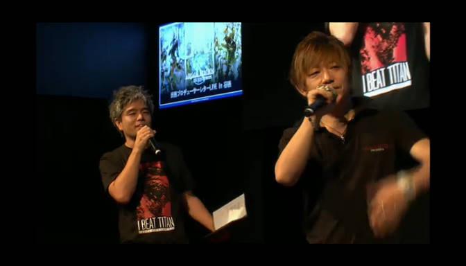 「FFXIV: 新生エオルゼア」プロデューサー兼ディレクターの吉田直樹氏(右)とコミュニティチームの室内俊夫氏(左)