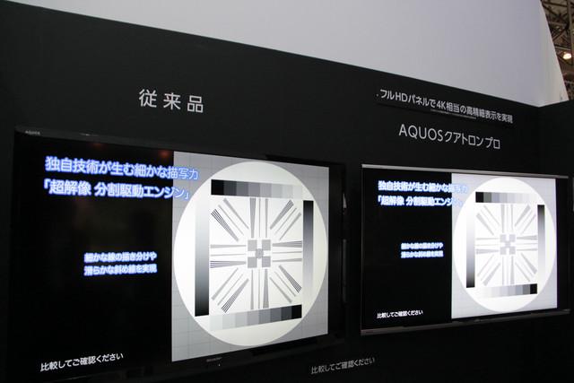 シャープの「クアトロン プロ」。フルHDパネルで4K相当の高画質表示ができるという試作機を展示