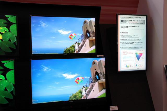 三菱の赤色レーザー光源搭載の液晶テレビ「LASERVUE」は4Kモデルも展示