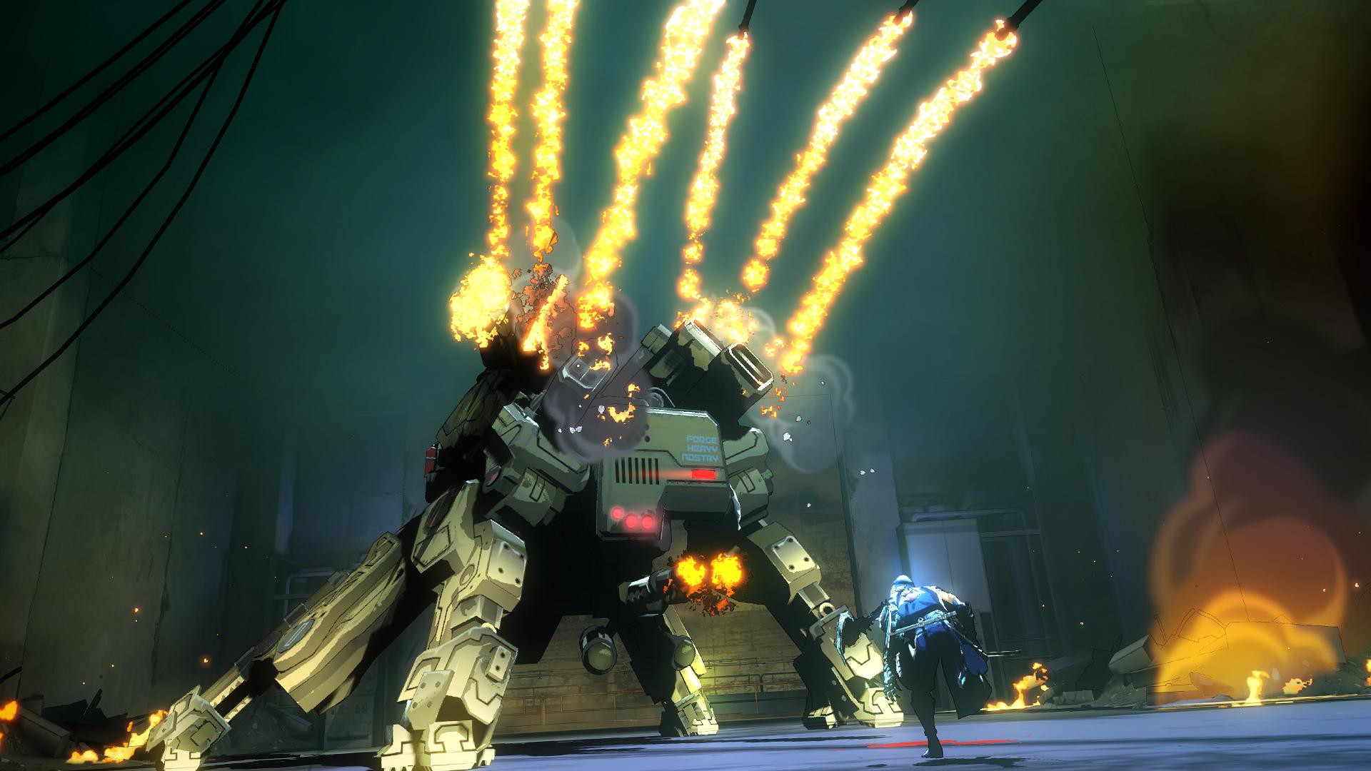 敵基地内最深部、敵は人型のゾンビだけではない……!? 鋼の装甲をもつ巨大メカへ立ち向かうヤイバ。放たれるミサイルの雨をかいくぐり突進する