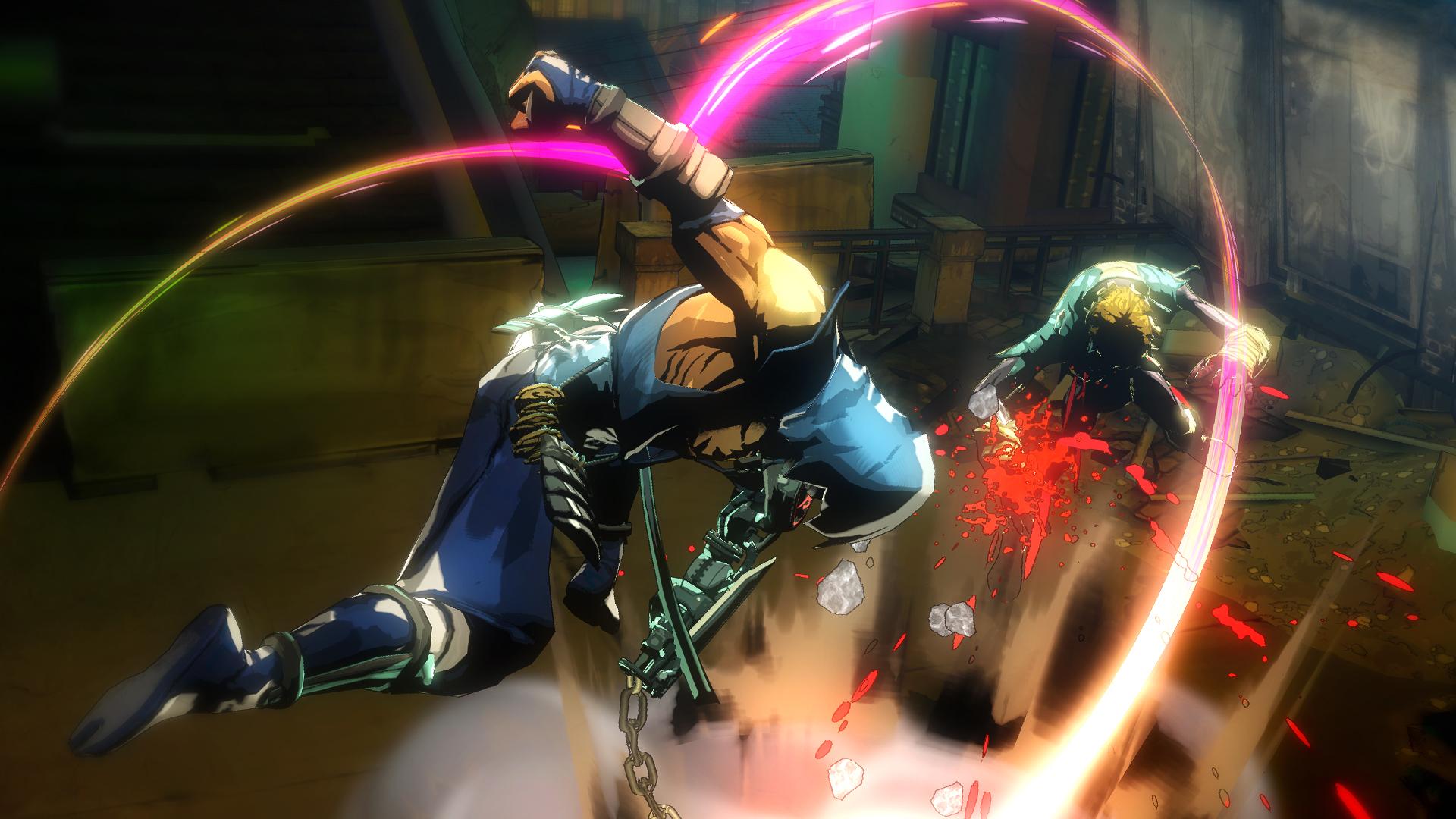 ヤイバのサイボーグアームは多彩な攻撃能力をもつ。チェーン攻撃もそのひとつ。投げ技を得意とするような敵には、離れた場所からのチェーン攻撃が有効だ