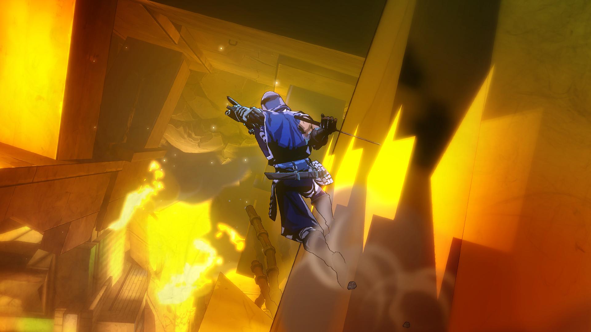 炎と共に崩れ落ちるビル群、その中を壁走りするヤイバ。アクロバティックな移動アクションも、忍者にとっては日常茶飯事。壁に示された矢印はヤイバのサイボーグビジョンが見せるガイドのようなものだ