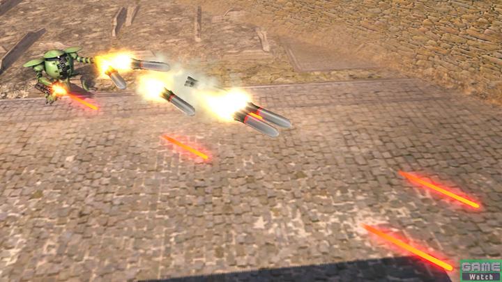 ハンドガンとミサイルの一斉射撃を行なうカプル時のチャージ射撃
