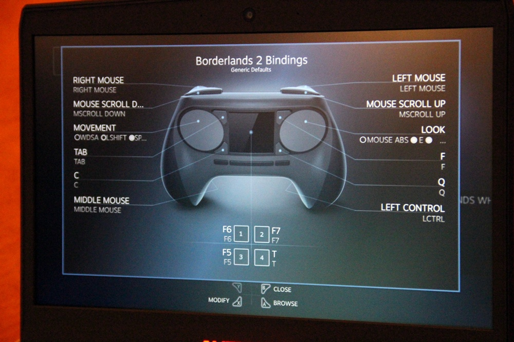 Steam OSとSteam Controllerのデモ。ボタンのカスタマイズもプレーヤーの意のままにできる